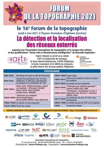 16e forum de la topographie : détection et localisation des réseaux enterrés @ Espace Ventadour à Egletons (Corrèze)